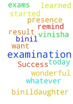 Success of my examination. -  I am Vinisha Binil,daughter of K M Binil. From today my exams have been started. I want you to pray for the presence of god during examination to remind whatever I have learned and for wonderful result.  Posted at: https://prayerrequest.com/t/jdx #pray #prayer #request #prayerrequest