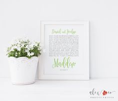 Personalized Wedding Gift Greenery 8 x 10 Printable Wedding Monogram Gift Bridal Shower Gift Boho Wedding Gift Boho Wedding Printable