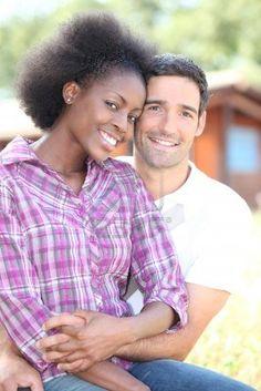 beautiful mixed couple Stock Photo