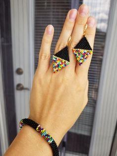Handmade - Colorful black beaded crochet bracelet, seed bead crochet bracelet rope, beaded bangle, beaded jewelry - Apocalypse Now And Then Bead Jewellery, Beaded Jewelry, Handmade Jewelry, Beaded Bead, Handmade Gifts, Black Earrings, Beaded Earrings, Drop Earrings, Crochet Beaded Bracelets