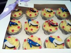 Cupcakes with embellishments based on the designs of Yull Shoes