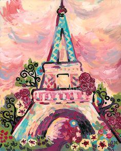 Chic PARIS France Eiffel Tower Lumiere de la Ville by wescoatart, $26.00