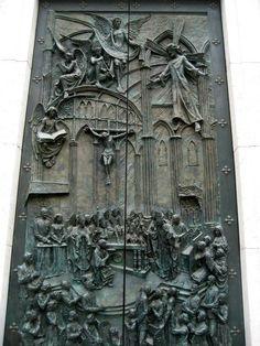 Cathedral door, Madrid, Spain.