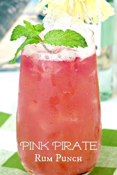 Pink pirate rum punch recipe 16 rum cocktails to make you love rum Alcoholic Punch Recipes, Party Punch Recipes, Alcohol Drink Recipes, Adult Punch Recipes, Mix Drink Recipes, Beach Drinks, Pink Drinks, Summer Drinks, Beach Alcoholic Drinks