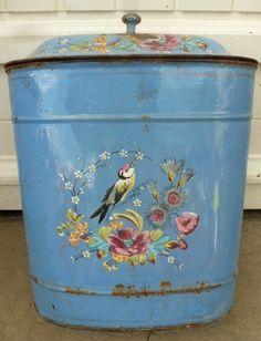 Ancienne Fontaine Tole Emaillée Décor Oiseau Fleurs en Relief ( no cafetiére )