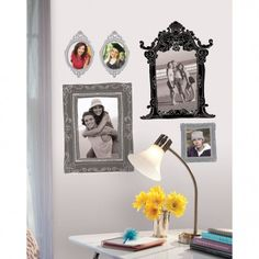 Create gallery walls in your rental with this great tip for renter friendly picture hanging. Peal and stick picture frames. Custom Wall Decals, Removable Wall Decals, Roommate Decor, Roommates, Do It Yourself Design, Kitchen Wall Decals, Stick Photo, Country Chic Cottage, Alternative Art