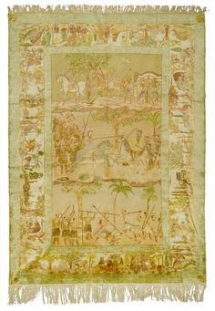KAYSERI PICTORIAL CARPET antique.  Light central field with depictions of war in delicate pastel colours, white border with hunting scenes, signs of wear.  210x280 cm.