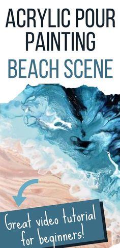 Acrylic Wave Painting, Beach Scene Painting, Acrylic Painting Lessons, Acrylic Painting For Beginners, Acrylic Painting Tutorials, Acrylic Canvas, Pour Painting, Painting Classes, Diy Canvas