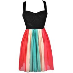 Lily Boutique Rainbow Dress, Cute Rainbow Dress, Rainbow Party Dress... ❤ liked on Polyvore featuring dresses, lily dress, black dress, kohl dresses, rainbow dress and black cocktail dresses