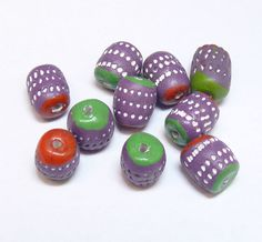 13mm x 10mm Bag of 10 Clay Barrell  Beads Bead Beading - 2mm Hole