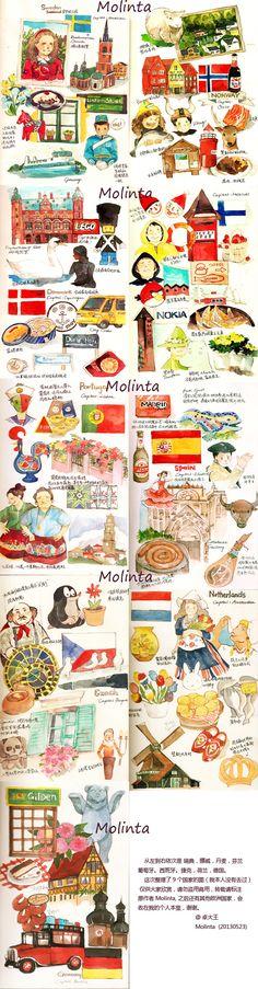 wow! Moleskine travel journal watercolor drawings