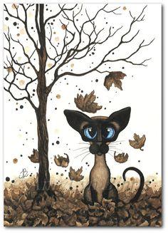 Siamese Cat Brown Falling Leaves Art Prints & by AmyLynBihrle