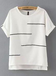 I like the crisp white with the bit of black or navy.    White Short Sleeve Striped Dip Hem T-Shirt