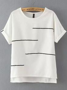 White Short Sleeve Striped Dip Hem T-Shirt