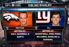 Denver Broncos vs. New York Giants  | Peyton vs. Eli Manning: Who is better at different sports?