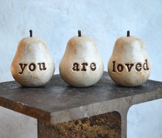 Birthday gift ... Handmade polymer clay pears ... 3 Word Pears, white... You Are Loved... Wedding on Etsy, $32.00