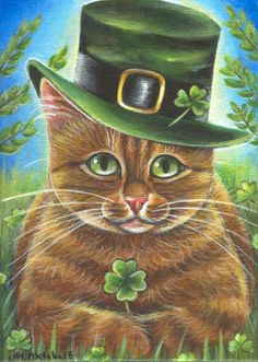 Orange Tabby Cat - St.Patrick's Day Painting