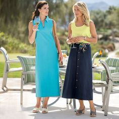 No-Hassle Linen Button-Front Skirt, TravelSmith