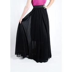 Tara Lynn's Boutique Long Chiffon Maxi Skirt: Black ($100) ❤ liked on Polyvore featuring skirts, black, long evening skirts, floor length skirt, black skirt, long black slip and long maxi skirts