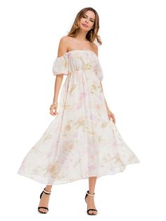 White Floral Print Off Shoulder Elastic Waist Chiffon Maxi Dress