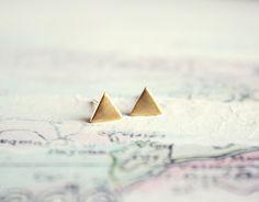 tiny triangle stud earrings - minimalist geometric gold jewelry