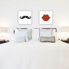 His and hers moustache and lips bedroom canvases - hardtofind.