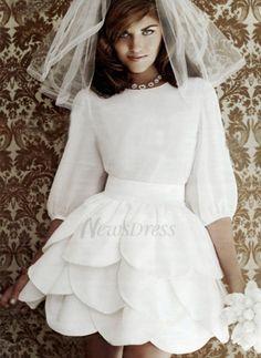 A-Line/Princess Scoop Neck Short/Mini Ruffle Chiffon Zipper Up Sleeves 1/2 Sleeves Hall Reception General No Spring Summer Fall Ivory Wedding Dress