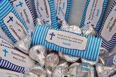 Etiquetas Chocolates Primera Comunión Azul * Candy Wrap Blue Printables First Communion