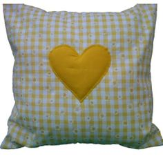 Yellow Gingham with Daisies & Heart Cushion Cover Shabby Country Chic Style