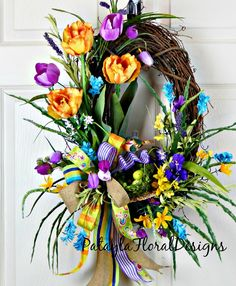 Spring Easter Tulip Front Door Wreath, Yellow Orange Purple Oval Grapevine, Funky Bow Wreath, Easter Door Decor, Country Farmhouse Decor by PataylaFloralDesigns on Etsy Summer Door Wreaths, Easter Wreaths, Wreaths For Front Door, Holiday Wreaths, Spring Wreaths, Mesh Wreaths, Floral Wreaths, Burlap Wreaths, Front Door Decor