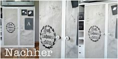 mit Leinen und Farbe / Cupboard beautified with linen and paint (among other things) Cupboard, Lockers, Locker Storage, Diy, Painting, Closet, Home Decor, Black Spray Paint, Beautiful Homes