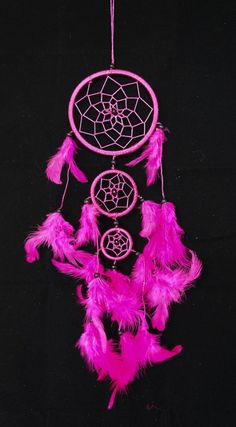 PINK  DREAM CATCHER 3 circles 3.5 feather by SweetieLots on Etsy, ฿265.00