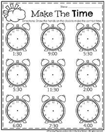 Telling Time Worksheet for First Grade - May First Grade Worksheets