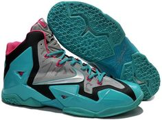 Lebron 11 Grey Pink Green Shoes