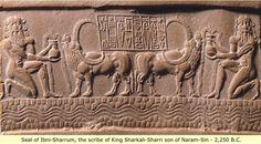 Sumerian cylinder seal of Sharrum, the scribe of King Sharkali-sharri son of Naram-Sin - 2250 BC