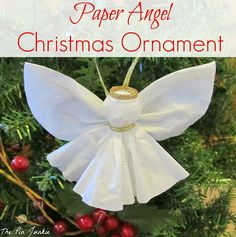 Easy paper angel ornament made out of coffee filters. Cute idea for Christmas holiday or any time. Would also go cute as gift wrap trim idea on packages and bags and in gift baskets and crafts. Diy Christmas Angel Ornaments, Christmas Crafts For Kids, Christmas Activities, How To Make Ornaments, Christmas Angels, Christmas Projects, Holiday Crafts, Christmas Holidays, Christmas Decorations