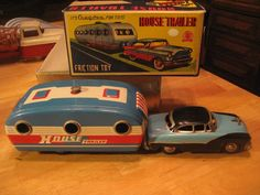 VTG CRAGSTAN HOUSE TRAILER & CAR FRICTION POWERED TIN #10512 JAPAN MINT IN BOX #Cragston
