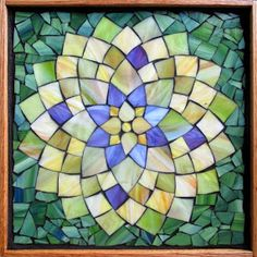 """Student Work - Framed Stained Glass Mosaic Dahlia 12"""" x 12"""" created by Gosia in the Stained Glass Mosaic Flower Workshop with Artist Kasia Polkowska - Next Class May 17-18 and June 14-15, 2014 in Boulder Colorado"""