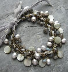 i need to lean to make gorgeous, shimmery things like this shiny, jangly bracelet