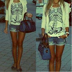 Skull shirt, shorts - Spring/Summer outfit