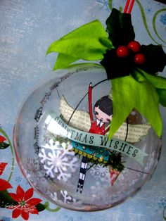 paper scene inside christmas ornament Bunting