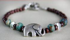 Elephant Bracelet Charm Bracelet Heart Animal lover by AmberSky