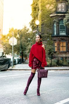 Fall is not complete without shades of red. Always dependable, always flattering! Fall outfit in a red off shoulder sweater, Senreve bag, and Stuart Weitzman boots. Wendy's Lookbook, Fashion Lookbook, Bordeaux, Balenciaga, Burgundy Boots, Insta Look, Shades Of Red, Stuart Weitzman, Winter Outfits