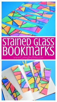 Stained Glass Bookmarks- simple and beautiful process art craft that kids can make to give as a gift for teachers, grandparents, siblings, parents, or friends.