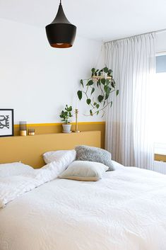 MY ATTIC / slaapkamer / bedroom / ochre / oker / diy hoofdbord / headboard Fotografie: Marij Hessel www.entermyattic.com