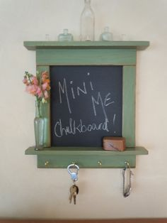 Salvaged solid oak wood flooring  Chalkboard-Rustic Craftsman style Primitive Chalk Board with shelves and brass hooks in New Leaf Green on Etsy
