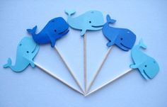 24 Mixed Blue Whales Party Picks - Cupcake Toppers - Toothpicks - Food Picks - die cut punch FP248. $4.99, via Etsy.