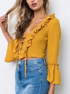 Come across an affordable & extremely versatile variety of feminine ladies blouses. Cool Outfits, Casual Outfits, Fashion Outfits, Yellow Blouse, V Neck Blouse, Blouse Styles, Long Sleeve Crop Top, Ladies Dress Design, Blouses For Women