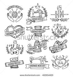 Set of hand drawn logos for sewing workshop, handmade workshop, shop for crafts, products for sewing, tailor shop. Handmade workshop logo vintage vector set.