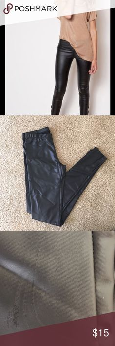 Zoe Leather Look Leggings Black NWT never worn Leather Look Leggings. Still in packaging. Totally in season right now. Too small and had minor scratches. Pants Leggings
